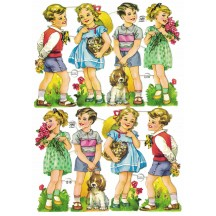 Vintage PZB Boys and Girls with Flowers and Pets Scraps ~ Germany
