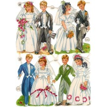 Vintage PZB Bride and Groom Childen Wedding Scraps ~ Germany