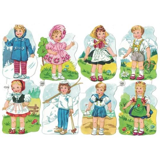 Vintage PZB Bavarian Boys and Girls Scraps ~ Germany
