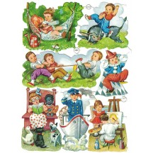 Vintage PZB Children at Play and Pastimes Scraps ~ Germany