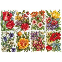 Vintage PZB Mixes Field Flowers Scraps ~ Germany