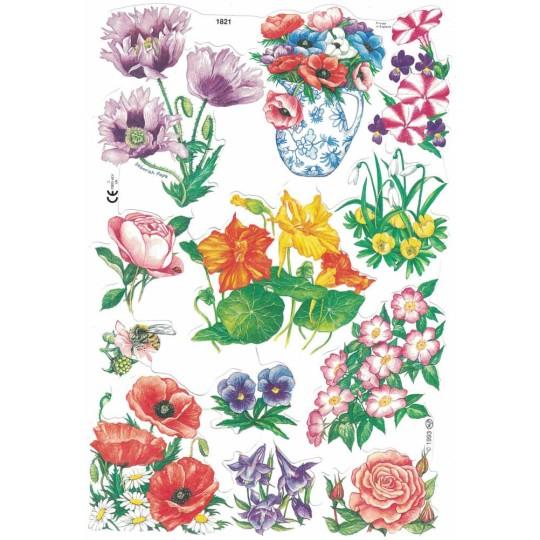Mixed Bright Springtime Flowers Scraps ~ England