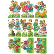 Vintage EAS Children with Flowers Scraps ~ Germany