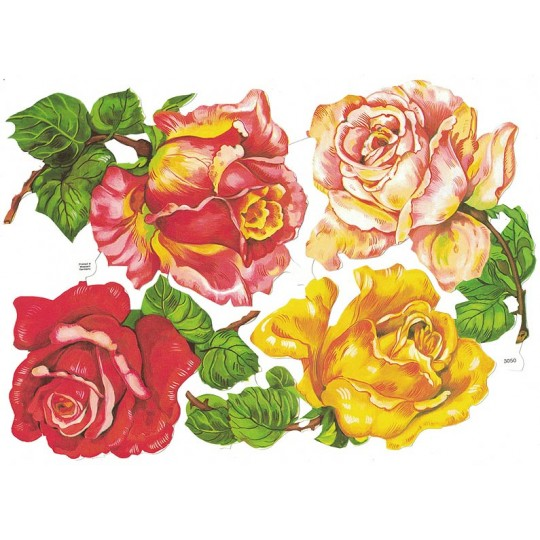 Large Roses Scraps ~ Vintage EAS ~ Germany