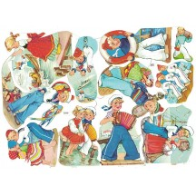 Sailor Boys and Girls Colorful Scraps ~ Vintage EAS ~ Germany