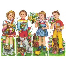 Large Boy and Girls with Animals Colorful Scraps ~ Vintage EAS ~ Germany