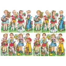 Boys and Girls with Animals Colorful Scraps ~ Vintage EAS ~ Germany