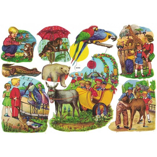 Boys and Girls with Zoo Animals Colorful Scraps ~ Vintage EAS ~ Germany