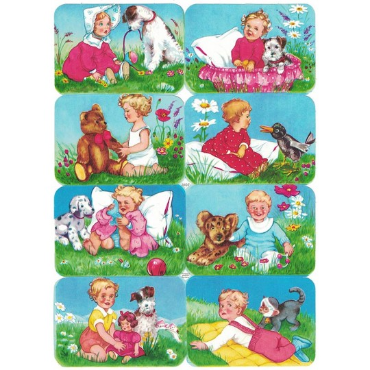 Babies with Animals Colorful Scraps ~ Vintage EAS ~ Germany