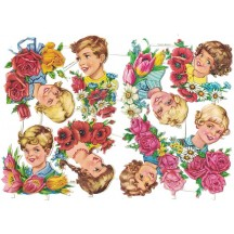 Children Heads with Flowers Colorful Scraps ~ Vintage EAS ~ Germany