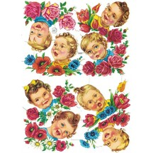 Baby Heads with Flowers Colorful Scraps ~ Vintage EAS ~ Germany