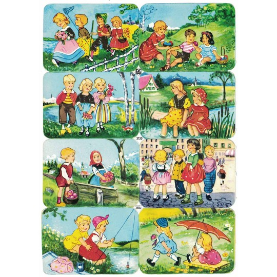 Adorable Boy and Girls in Nature Scraps ~ Vintage EAS ~ Germany