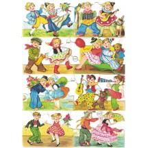 Dancing Colorful Boy and Girls Scraps ~ Vintage EAS ~ Germany