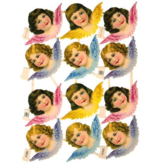 12 Large Pastel Angel Scraps ~ Vintage PZB