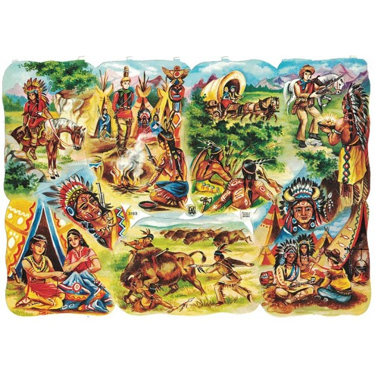 Rare Vintage EAS Native American Indians and Pioneers Scraps ~ Germany