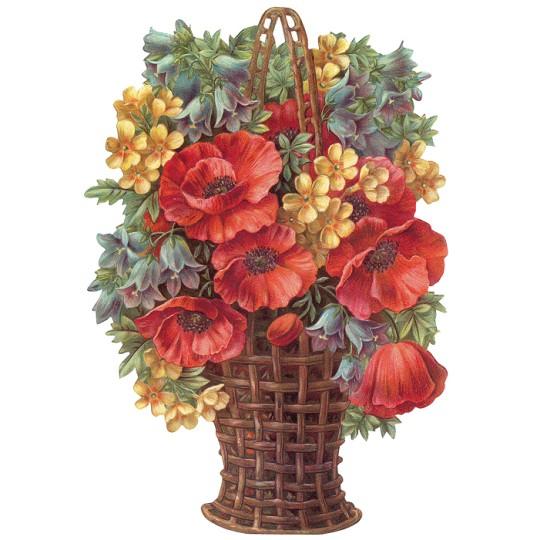 Large Anemone Flower Basket Scrap ~ Germany