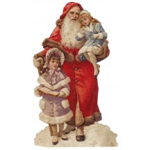 Large Santa & Victorian Girls Scrap ~ Germany ~ New for 2015