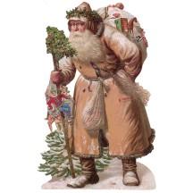 Large Brown Coat Victorian Santa Scrap ~ Germany ~ New for 2015