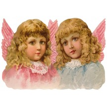 Large Scrap with Two Pastel Angels ~ Germany ~ New for 2015