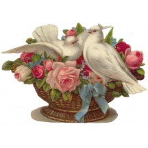 Large Doves & Rose Basket Scrap ~ Germany ~ New for 2015