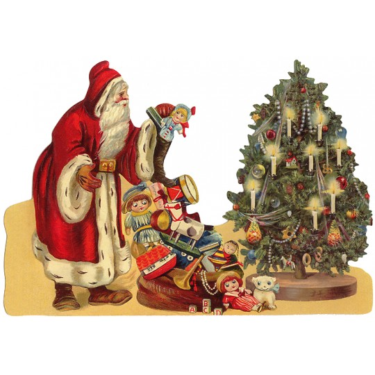 Large St. Nicholas with Toys and Tree Santa Scrap ~ Germany ~ New for 2016