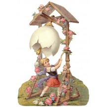 Large Victorian Child with Easter Egg Bell Scrap ~ Germany ~ New for 2016