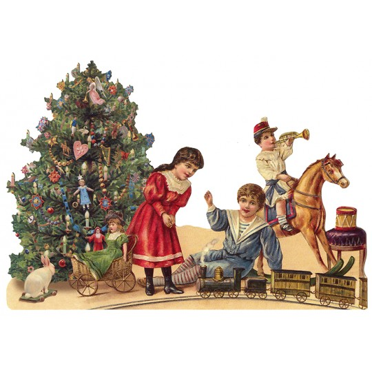 Large Victorian Children with Tree Christmas Scrap ~ Germany ~ New for 2016