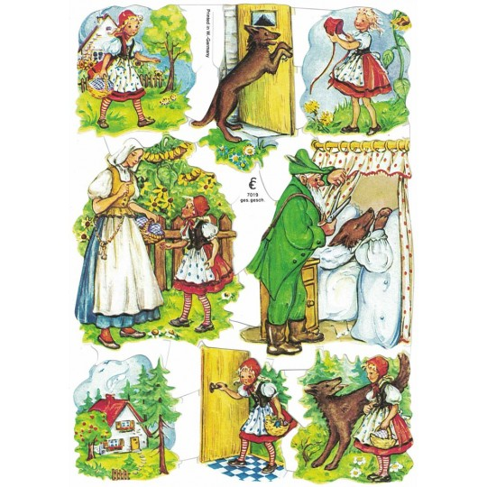 Red Ridinghood Fairytale Die-Cut Scraps for Paper Crafts