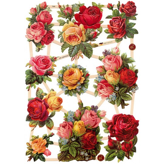 Red, Pink and Yellow Rose Bouquet Scraps ~ Germany ~ New for 2015