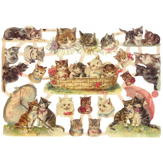 Small Fancy Cats with Bows Scraps ~ Germany ~ New for 2016