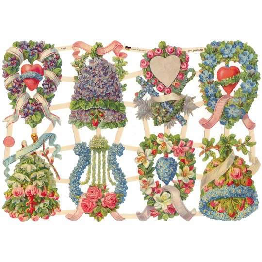 Floral Hearts and Bells Scraps ~ Germany ~ New for 2016