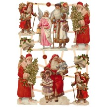 Red Coated Santas with Greenery Scraps ~ Germany ~ New for 2015