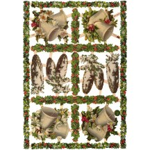 Pine Cones, Bells and Holly Christmas Scraps with Glitter ~ Germany ~ New for 2016