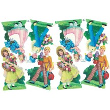 Boys and Girls with Flowers and Gifts Scraps ~ Vintage MLP ~ England