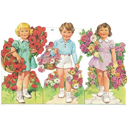 Large Boy and Girls with Flowers Colorful Scraps ~ Vintage MLP ~ England