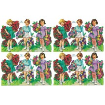 Boys and Girls with Flowers Colorful Scraps ~ Vintage MLP ~ England