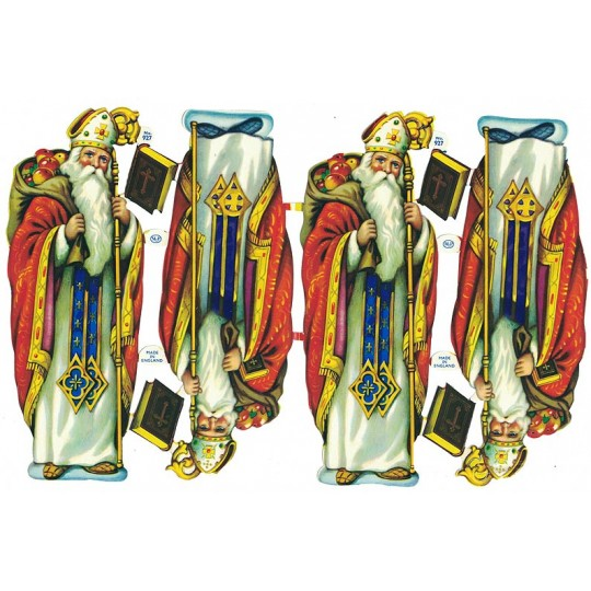 Vintage Large Santa St. Nicholas Scraps ~ Vintage MLP ~ England