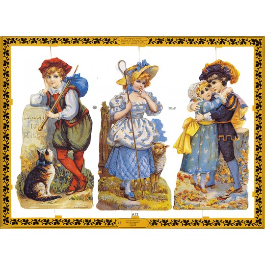 Victorian Children Fairytale Scraps ~ England ~ Large Sheet