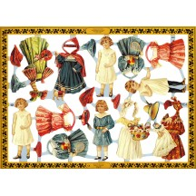 Victorian Paper Dolls Scraps ~ England ~ Large Sheet