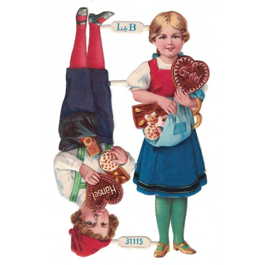 Antique Hansel and Gretel Christmas Oblaten Lebkuchen Scraps ~ L&B Germany ~ Large Standing
