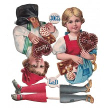 Antique Hansel and Gretel Christmas Oblaten Lebkuchen Scraps ~ L&B Germany ~ Large
