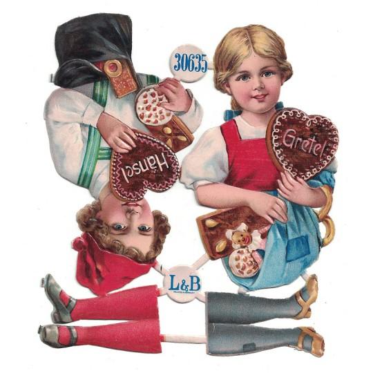 Antique Hansel and Gretel Christmas Oblaten Lebkuchen Scraps ~ L&B Germany ~ Large