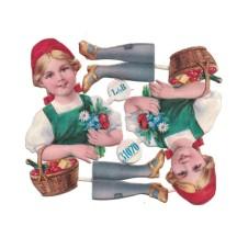 Antique Bavarian Girl Christmas Oblaten Lebkuchen Scraps ~ L&B Germany ~ Medium