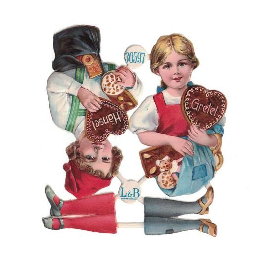 Antique Hansel and Gretel Christmas Oblaten Lebkuchen Scraps ~ L&B Germany ~ Medium