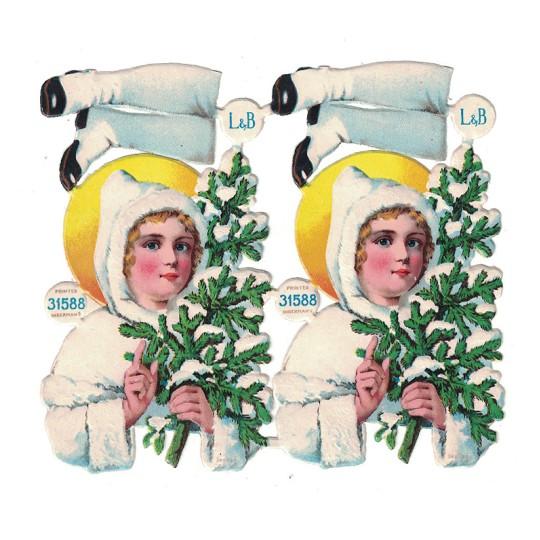 Antique Snow Maiden with Tree Christmas Oblaten Lebkuchen Scraps ~ L&B Germany ~ Medium