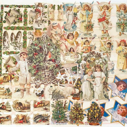 Mixed Christmas Angels + Greenery Master Scrap Pack ~ 10 Assorted Sheets