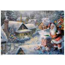 "Santa Delivering Gifts Paper Advent Calendar ~ 8-1/4"" x 11-3/4"""