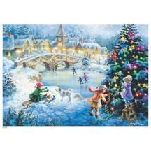 "Christmas Ice Skating Paper Advent Calendar ~ 8-1/4"" x 11-3/4"""