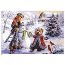"""Teddy Bears Build a Snowman Paper Advent Calendar ~ 8-1/4"""" x 11-3/4"""""""