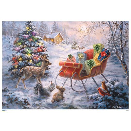 "Colorful Christmas Sleigh Paper Advent Calendar ~ 8-1/4"" x 11-3/4"""